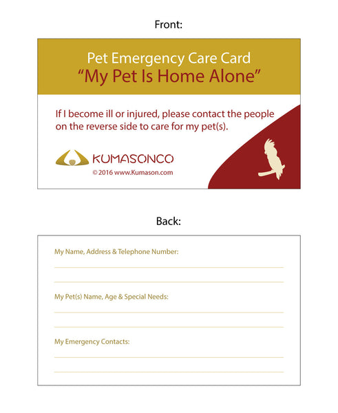 Pet Emergency Card Bird (Pack of 2)