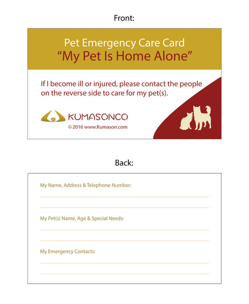 Pet Emergency Card Cat and Dog (Pack of 2)