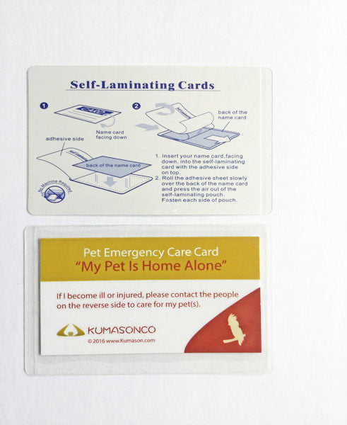 Pet Emergency Card & Laminating Pouch Bird (Qty 2)