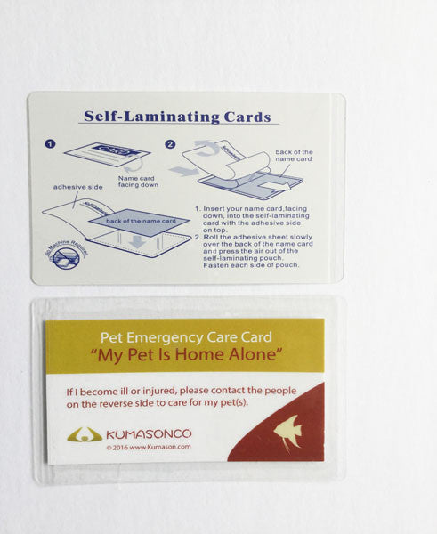 Pet Emergency Card & Laminating Pouch Fish (Qty 2)