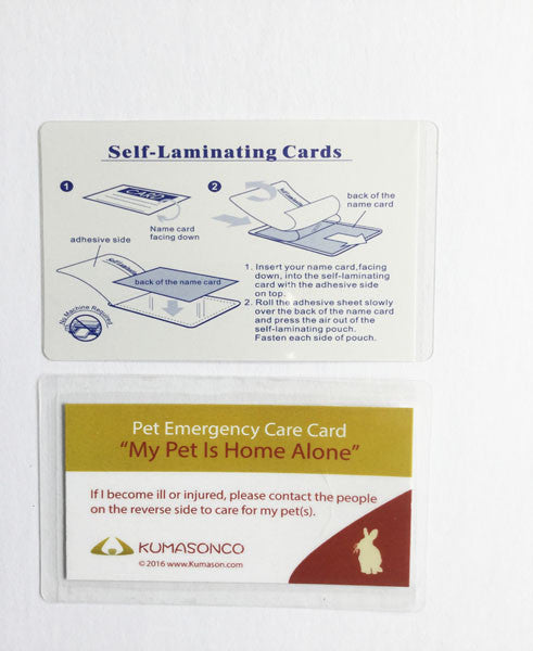 Pet Emergency Card & Laminating Pouch Rabbit (Qty 2)
