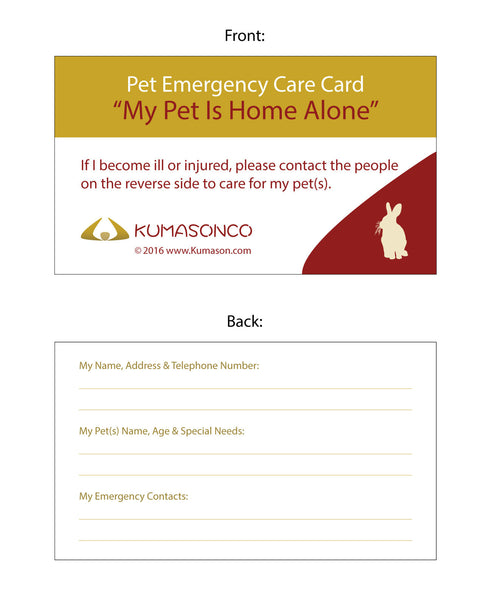 Two Pet Emergency Cards with Tick Remover Key Rabbit