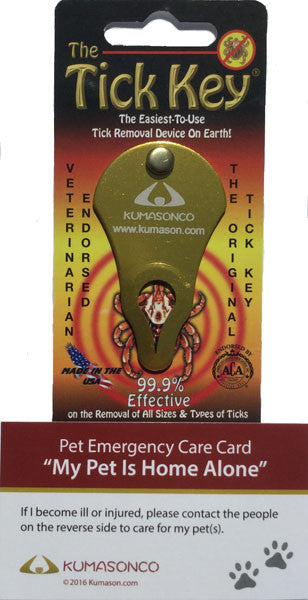Two Pet Emergency Cards with Tick Remover Key Paws