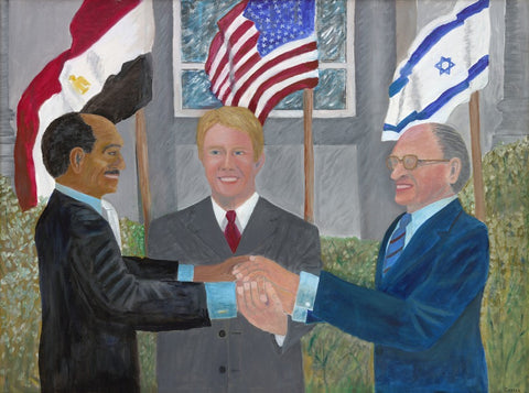 jimmy carter painting of his interpretation the camp david accords
