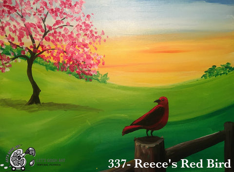 spring bird sunset painting