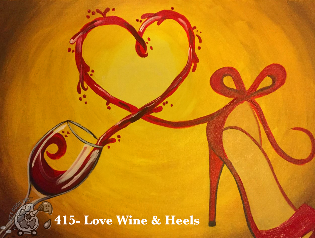 love wine and heels valentines day painting