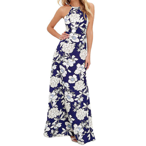 Summer Women Boho Long Maxi Evening Party Dress Sexy Backless Beach Dresses Flower Print Halter Sundress