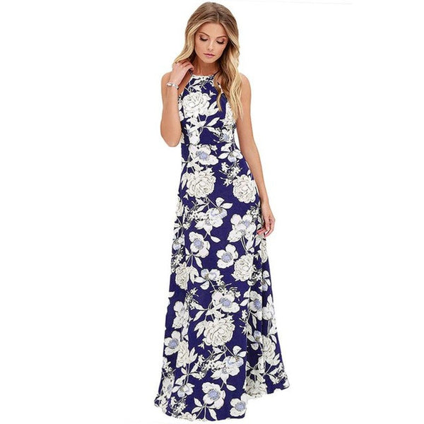 Summer Women Boho Long Maxi Evening Party Dress Sexy Backless Beach Dresses Flower Print Halter Sundress - Trendy Smilez