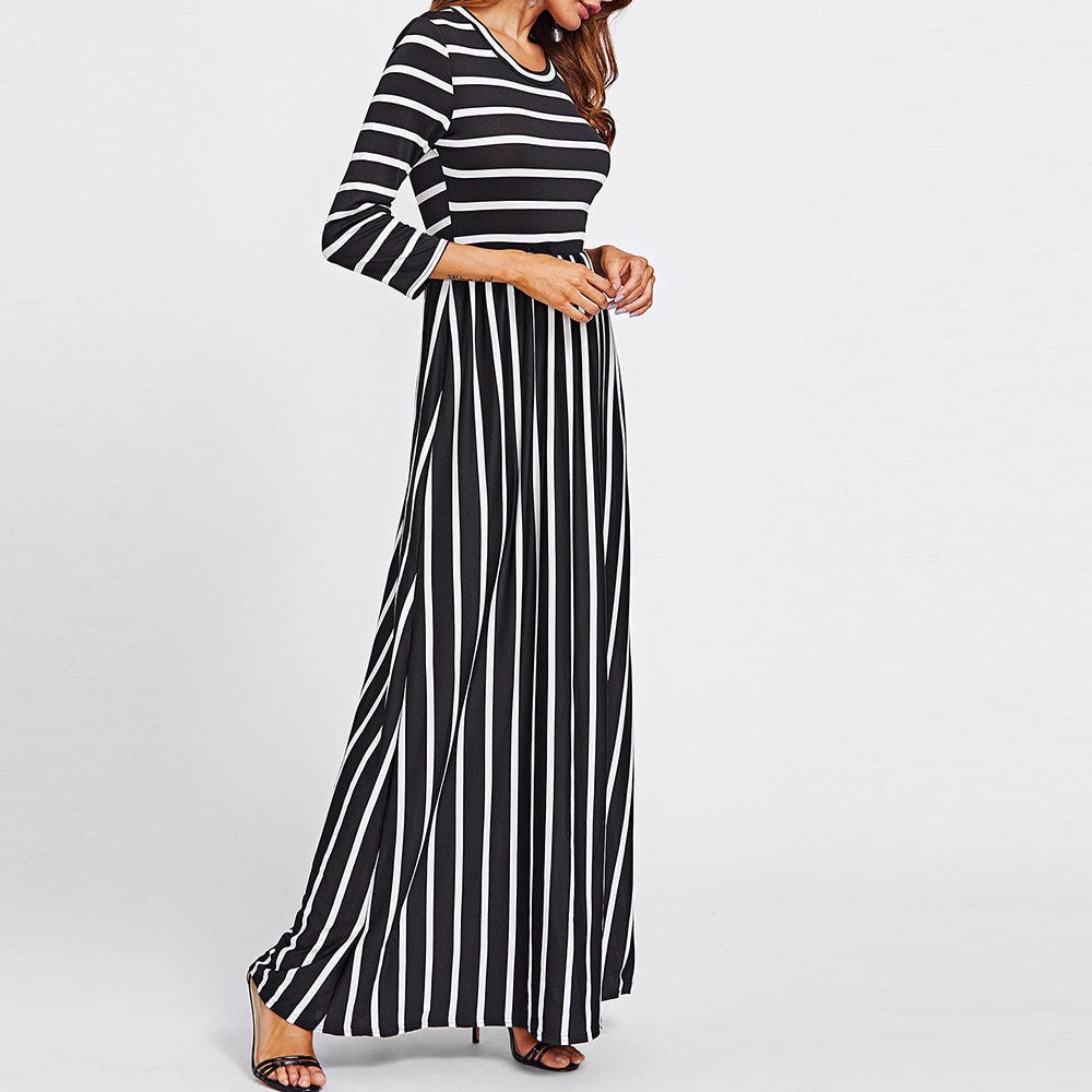 Maxi Dress Fashion Women Casual Autumn Black White Stripe Wrist Sleeve O Neck Long Dress