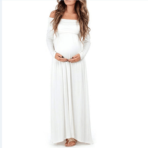 Maternity Maxi dresses Women Cowl Neck Pregnant Sexy Props Off Shoulders Nursing Dress