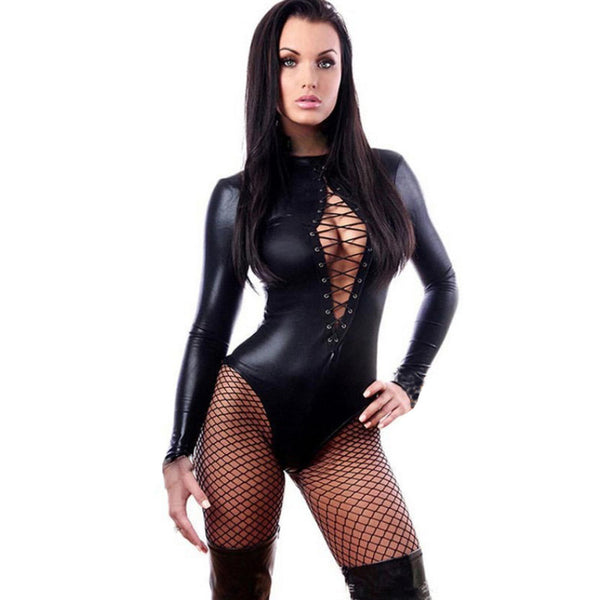Sexy Adult Black PVC Leather Like Tight Coverall Bodysuits L - Trendy Smilez