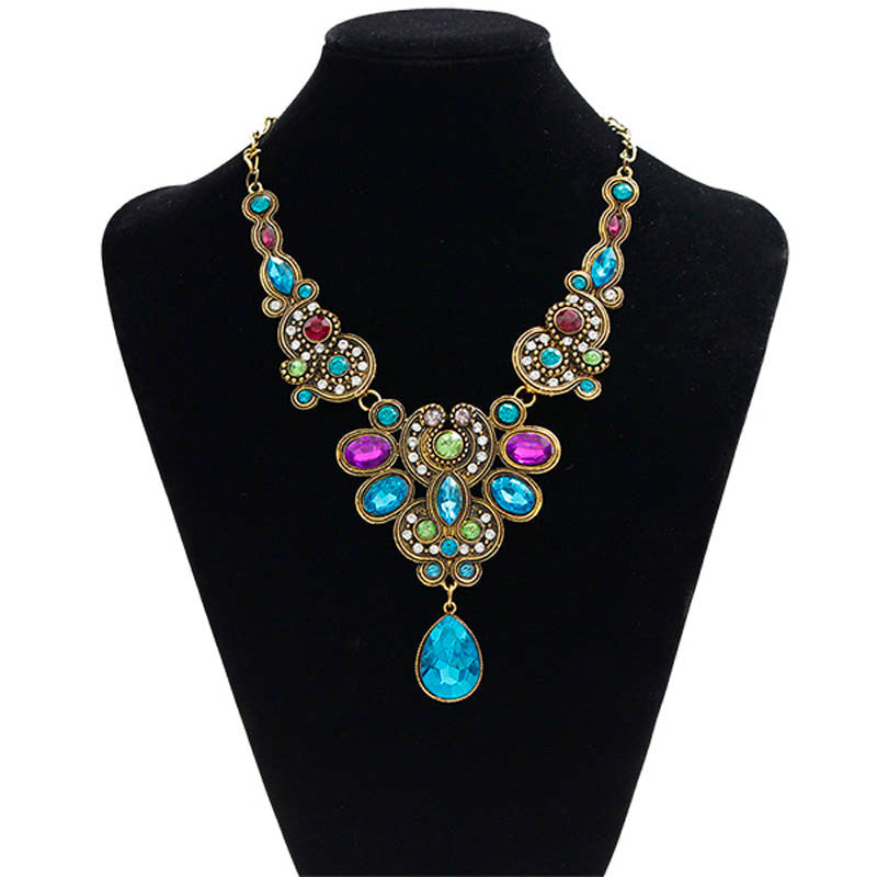 Pendant Chain Women Crystal Bib Beaded Collar Necklace Choker