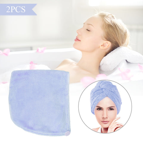 2pcs Microfiber Soft Coral Fleece Dry Hair Towel Hat Bath Shower Cap Quick Drying - Trendy Smilez