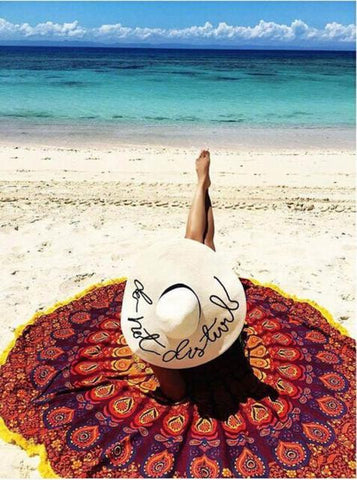 Round Hippie Tassel Tapestry Beach Throw Mandala Towel Yoga Mat - Trendy Smilez