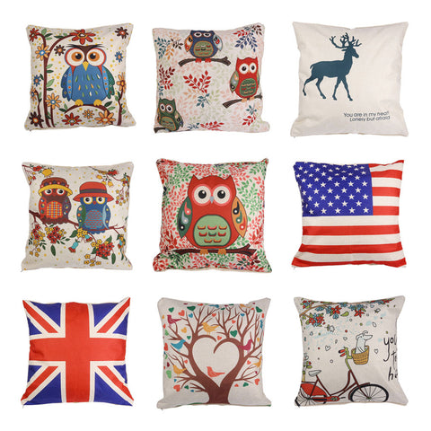 "18*18"" Vintage Owl Floral Linen Cotton Cushion Cover Pillow Case Sofa Home Deco - Trendy Smilez"