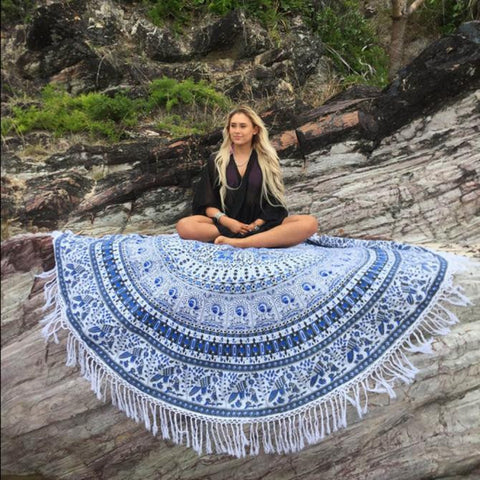 Round Hippie Tassel Tapestry Beach Throw Towel Yoga Mat Bohemian - Trendy Smilez