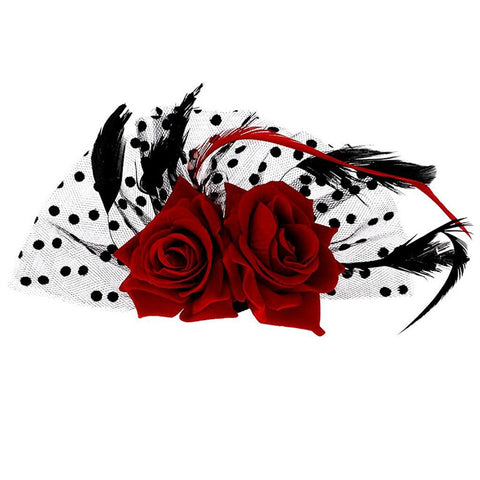 Bridal Fascinator Red Rose Flower Dots Hair Clips Headwear Wedding - Trendy Smilez