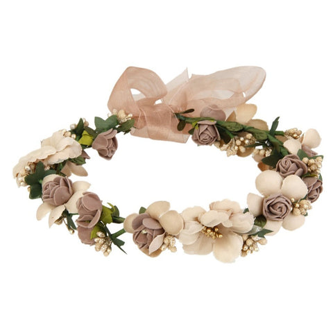 Flower Garland Handmade Fabric Rose Beaded Wedding Party Ribbon Headband for Bridesmaid - Trendy Smilez
