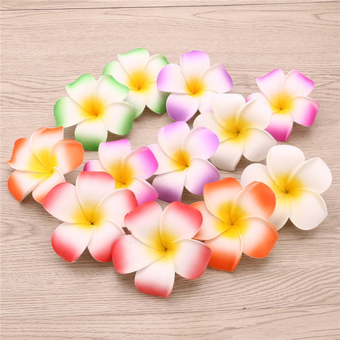 12 Pieces 3.5 Inch Hawaiian Plumeria Flower Hair Clip for Beach Party Wedding Event Decoration - Trendy Smilez