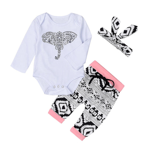 Newborn Toddler Baby Boys Girls Outfits Clothes Elephant Romper Pants 3pcs - Trendy Smilez