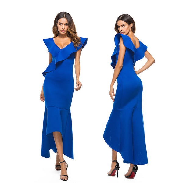 Sleeveless Ruffle Irregular Evening Party Dress - Trendy Smilez