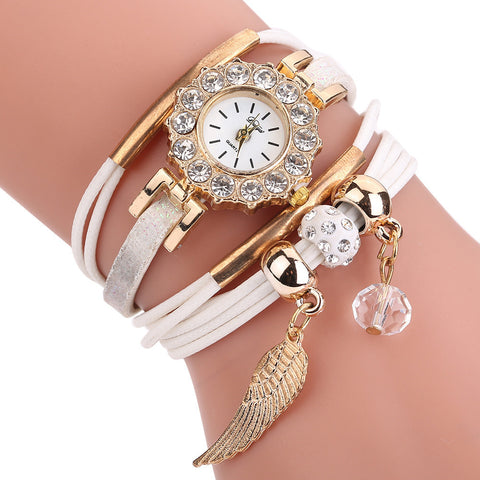 Women Quartz Watch Luxury Bracelet Flower Gemstone Wristwatch