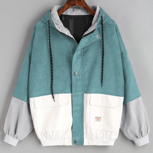 Corduroy Oversize Jacket Windbreaker Overcoat - Trendy Smilez