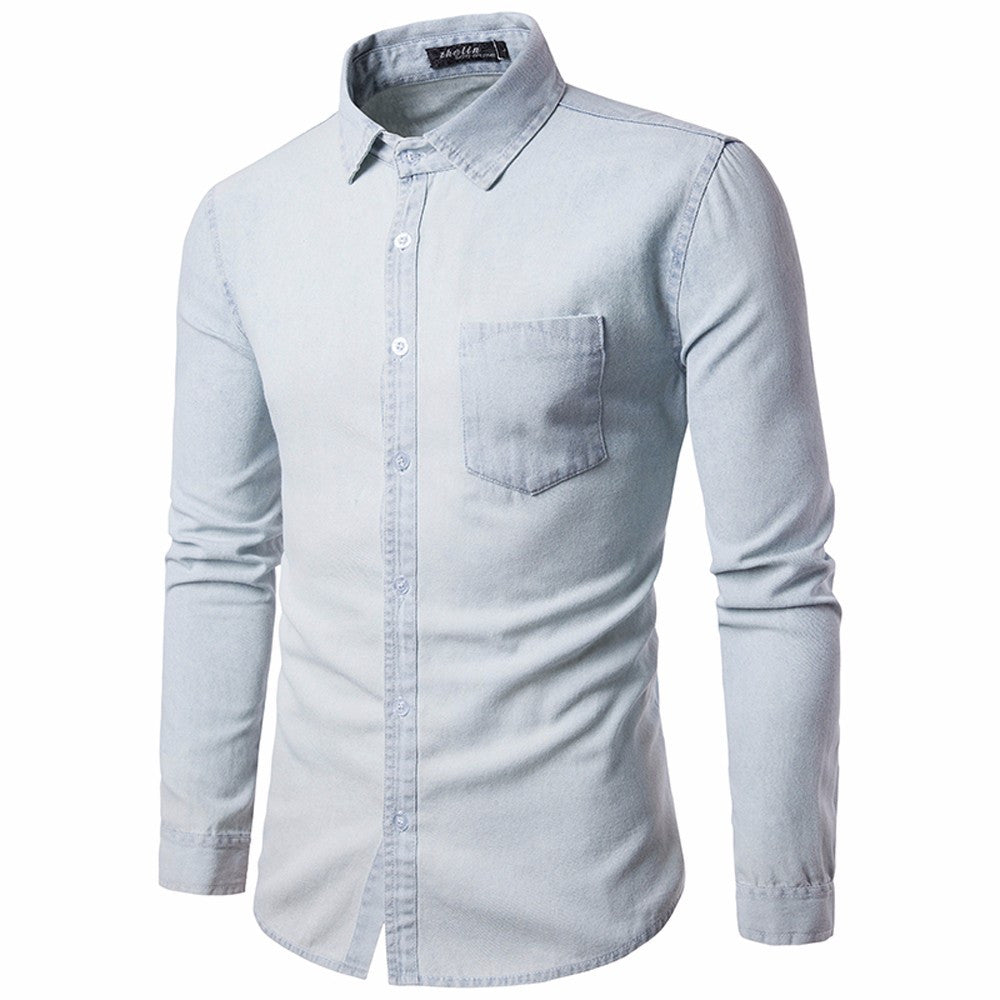 Mens Casual Long Sleeve Slim Fit Shirt Blue/White - Trendy Smilez
