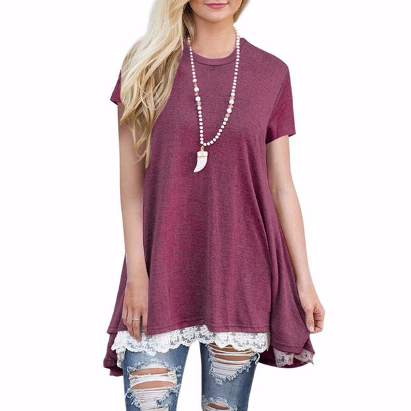 Lace Short Sleeve Shirt Pullover Tops Blouse - Trendy Smilez
