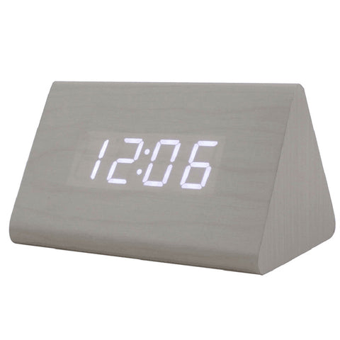 Triangle LED Wooden Alarm Clock Classical Digital Sound Control Desk Clock - Trendy Smilez