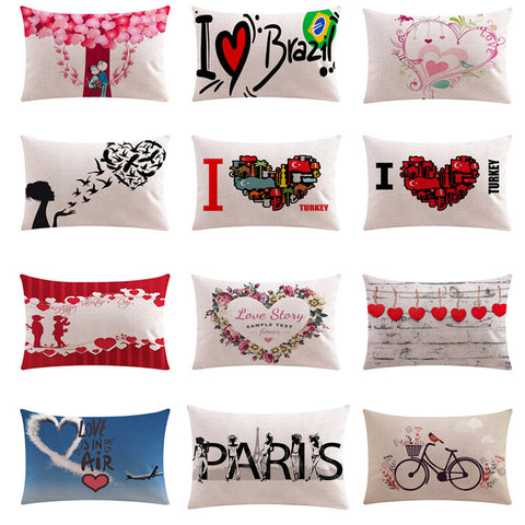 Valentine Pillow Cases Cotton Linen Sofa Cushion Cover Home Decor - Trendy Smilez