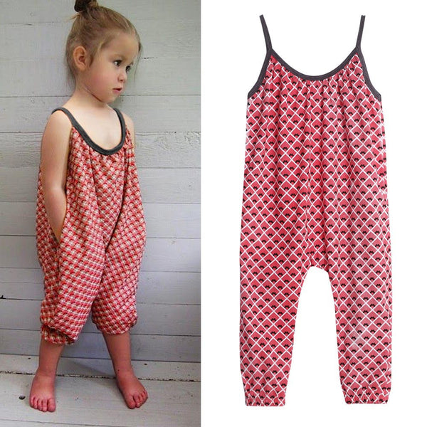Toddler Kids Baby Girls Straps Printing Rompers Jumpsuits Pants - Trendy Smilez
