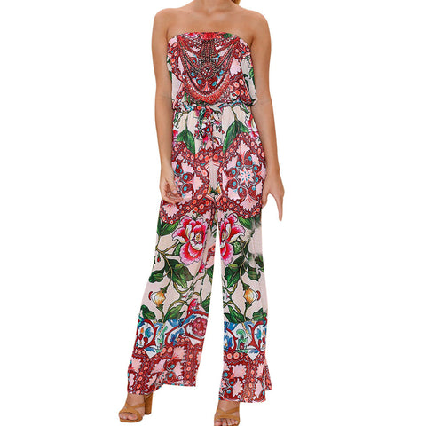 Women Off Shoulder Print Jumpsuit Clubwear Bodycon Playsuit Romper