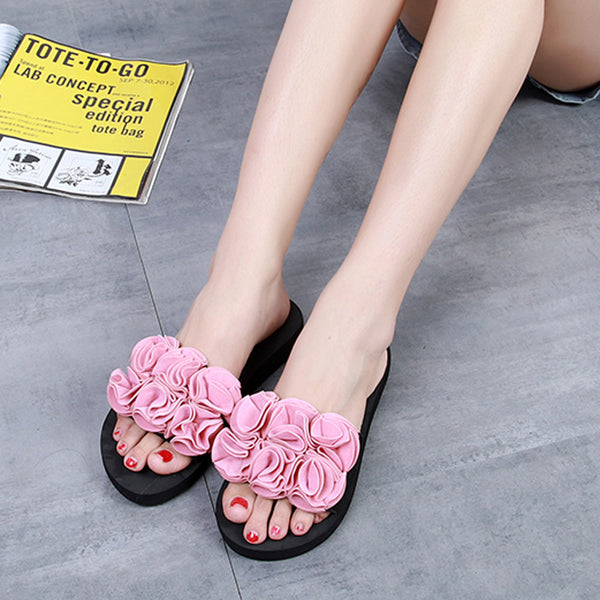 Women Flower Sandals Slipper Indoor Outdoor Flip-flops Beach Shoes
