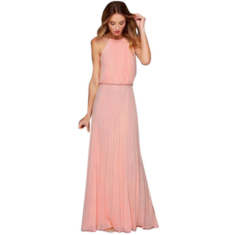 Women's Formal Chiffon Sleeveless Prom Evening Party Long Maxi Dress