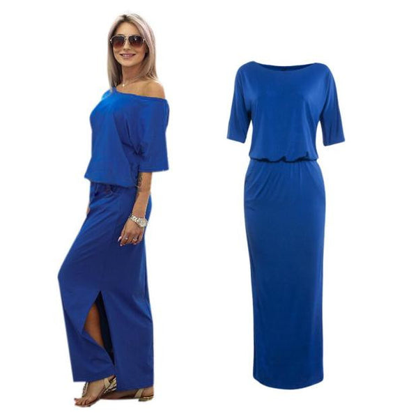 Women Summer Long Maxi Evening Party Dress with Pocket
