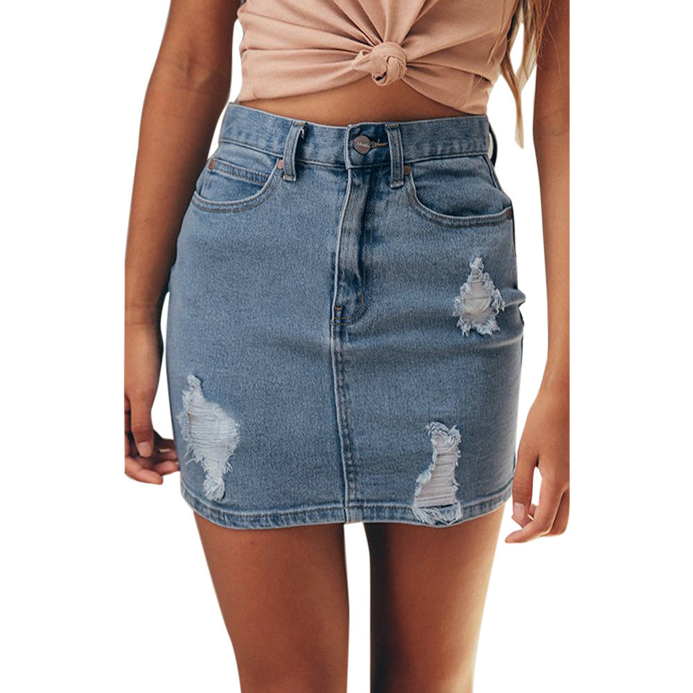 Denim Jeans Solid Hole Button Short Skirt - Trendy Smilez
