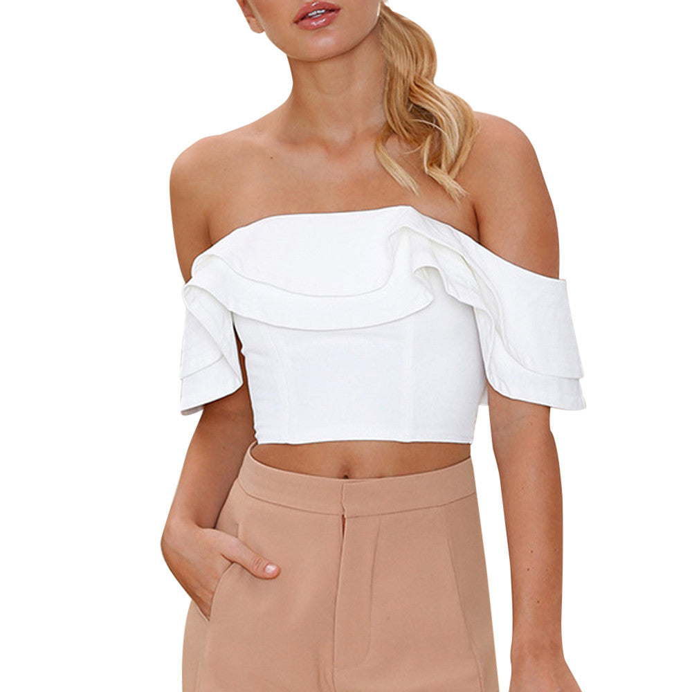 Sexy Ruffle Blouse Off Shoulder Short Tops - Trendy Smilez