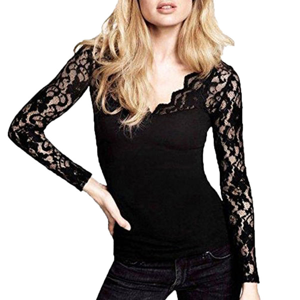 Solid Lace Stitching V-Neck Pullover Tops - Trendy Smilez