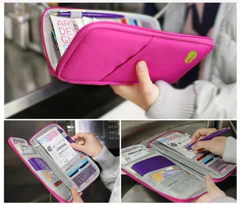 Travel Multifunction Bag Pouch Passport ID Credit Card Wallet Cash Holder Case - Trendy Smilez