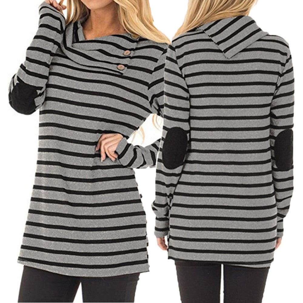 Striped Turn-Down Collar Sweatshirt Tops - Trendy Smilez
