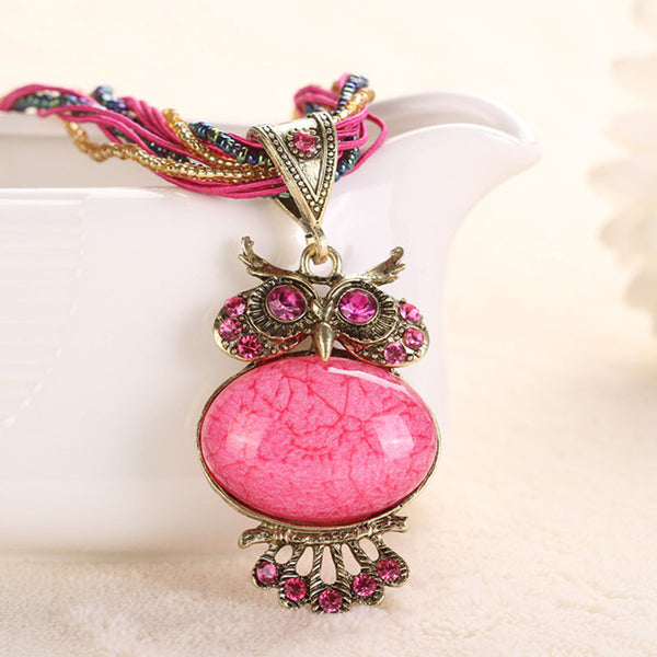 Bohemian Jewelry Necklaces Women Rhinestone Gem Pendant Collar - Trendy Smilez