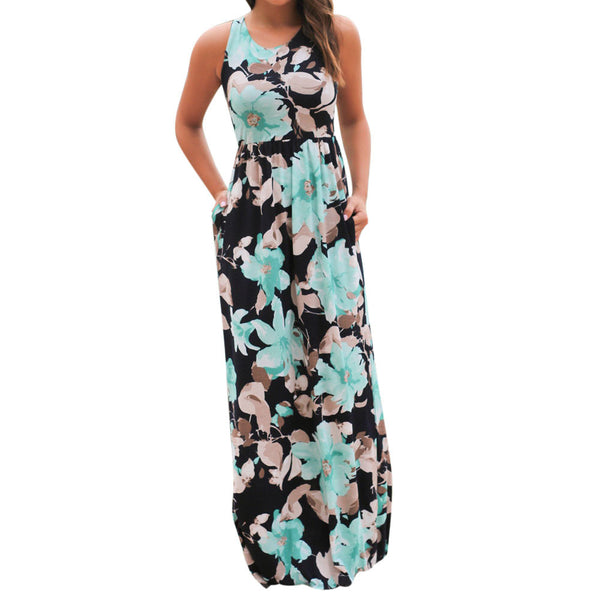 Women Sleeveless Floral Print Maxi Dress with Pockets - Trendy Smilez