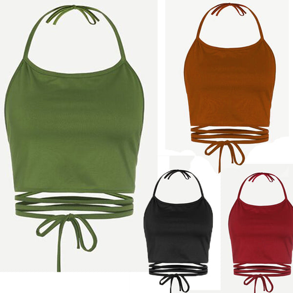 Sleeveless Backless Vest Halter Tank Tops - Trendy Smilez