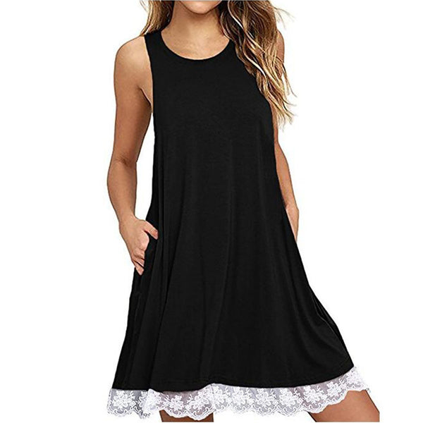 Women O Neck Casual Lace Sleeveless Above Knee Dress Loose Party Dress - Trendy Smilez