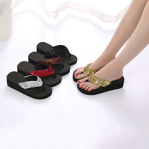 Women Sequins Anti-Slip Sandals Slipper Indoor & Outdoor Flip-flops