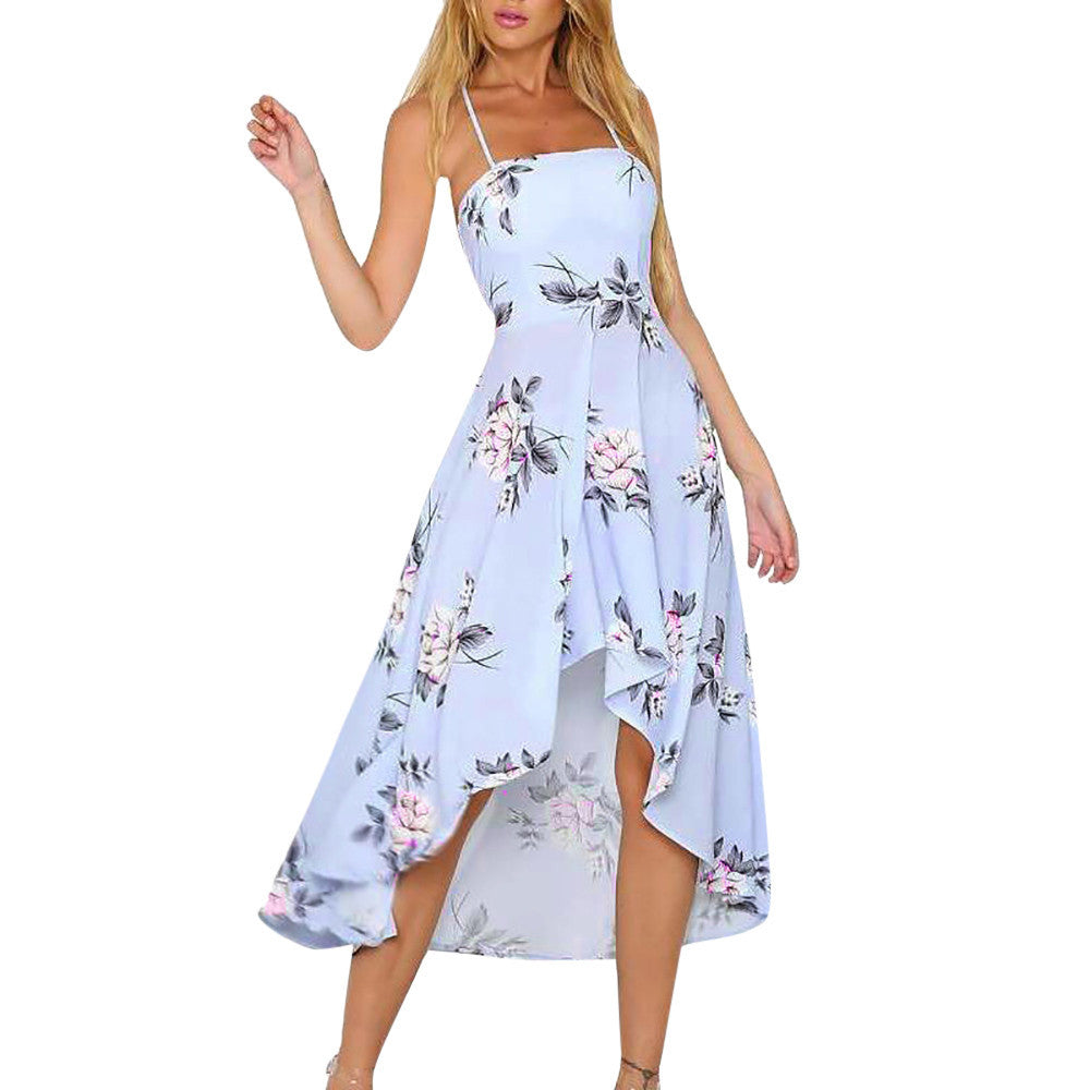 Maxi Floral Print Beach Dress - Trendy Smilez