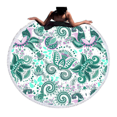Round Beach Towel Woman Toalla Tassel Summer Bath Towel Boho Printed Blanket - Trendy Smilez
