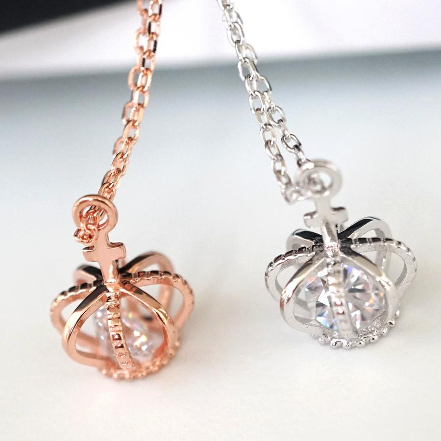 925 crown pendant necklace