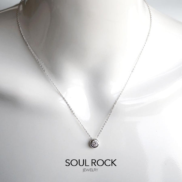 925 Bezel Solitaire necklace